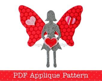 Valentine Fairy Applique Template, Valentine's Day, Silhouette Fairy, DIY, Children, PDF Pattern by Angel Lea Designs