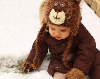 Furry Bear Face Eaflap Hat - All Children's Sizes
