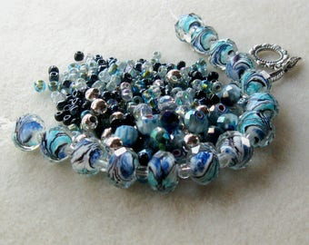 Lampwork Beads with a Mix of Glass and Seed Beads,  Jewelry Making Beads, Necklace Kit, Bead Combo, DIY Jewelry Kit, Necklace Design