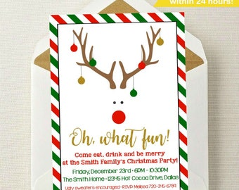 Christmas Invitation // Christmas Party Invitation // Christmas Invite // Holiday Invitation // Rudolph the Red-Nosed Reindeer // Christmas