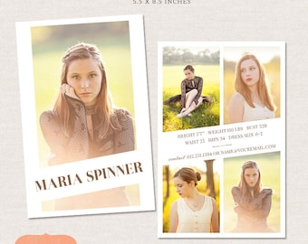 50% SALE Model Comp Card Photoshop template - Editorial Chic CM002 - Instant download