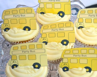 Edible YELLOW London Double Decker Buses x 15 - Routemaster Personalise Wafers Rice Paper Cake Cupcake Biscuit Toppers Party Decoration