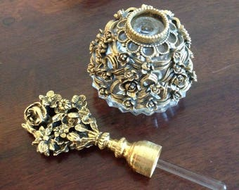 Vintage ornate brass Vanity Bottle perfume holder brass and glass