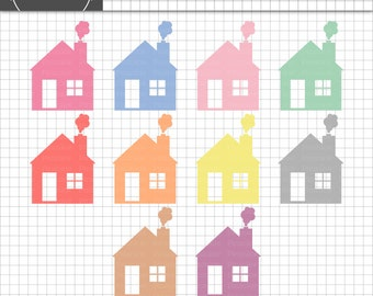 House Clip Art - Digital Clip Art - House ClipArt - Pastel Clipart - Scrapbooking - Instant Download - Commercial Use - PNG / J