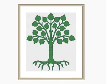 Cross Stitch Pattern, Modern cross stitch, abstract Tree of Life - Instant Download PDF