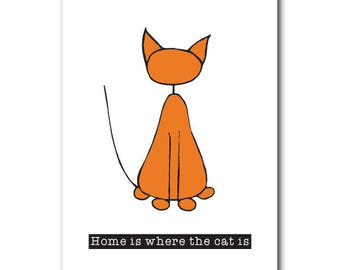 Home is where the cat is | Postcard | Illustration | Cat lover