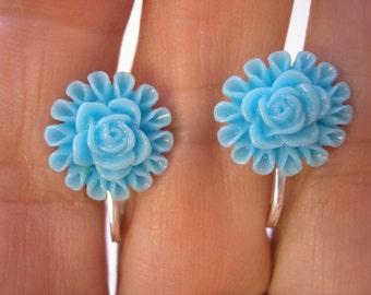 "Play Earring - Clip - Flower - Blue - 1/2"""