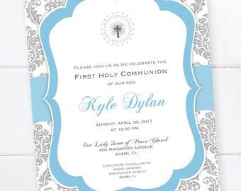 Baptism Invitation, First Communion Invitation, Confirmation Invitation, Damask Custom Colors PRINTABLE DIGITAL FILE