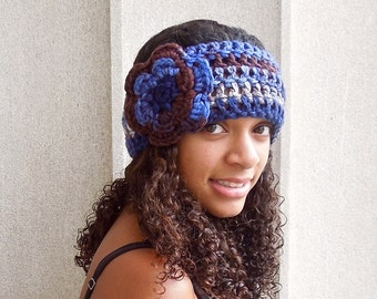 Crochet Headband, Flower Headband, Ear warmer Crochet, Adult, Women, Blue, Brown, Teen,,
