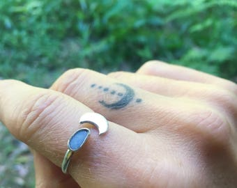 OPAL MOON RING // sterling silver // made to your size in byron bay // australian opal // adjustable