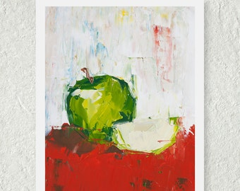 Apple Decor, Green Apple Print, Kitchen Art Print, Fine Art Print, Small Art Print, Palette Knife Art, Abstract Print, Original Art Print