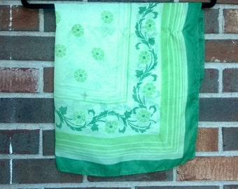 Bright Green Classic 1960's/1970s floral square scarf