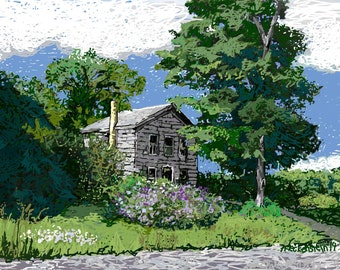 """Art Print """"Summer Green"""" Digital Painting,handsigned Landscape Country Home, Old House, wall art,wall decor,home decor, Patty Fleckenstein"""