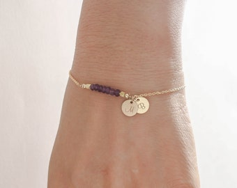 Amethyst Bracelet. Initials Disc Rose Gold Bracelet. February Birthstone. Natural Gemstones Mom,Sister,Wife,Bridesmaid Gift.