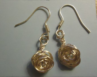 Silver Plated Rose Earrings