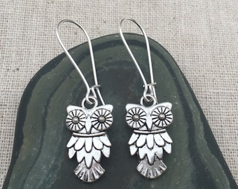 Silver Owl Earrings - Owl Jewelry - Simple Everyday Silver Earrings