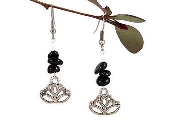 Natural gemstone jewelry Black tourmaline earrings Lotus silver jewelry Black gemstone earring Natural tourmaline jewelry Silver earring Lyi