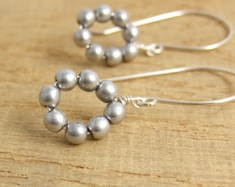 Earrings with Loops of Silver Glass Beads on Sterling Silver Earring Wires HE-398