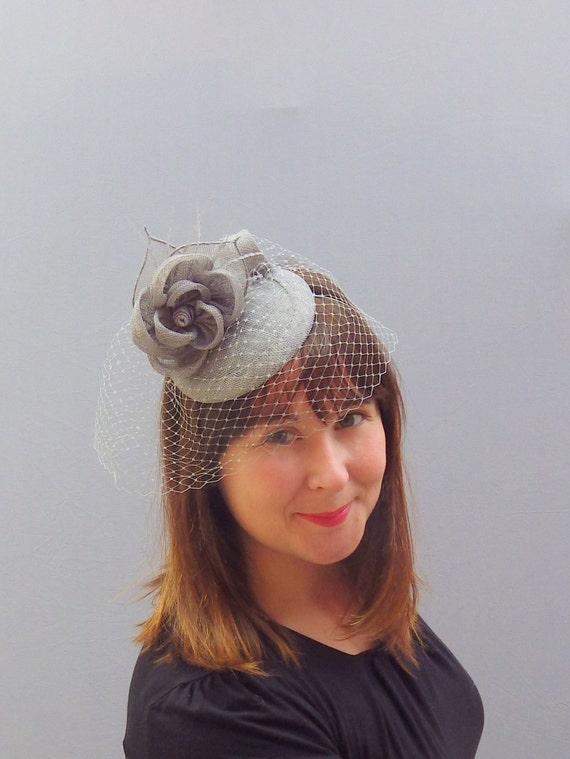 Grey Fascinator Veil Cocktail Hat. Sinamay Straw Head Piece ec45ca47057e
