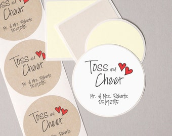 """TOSS and CHEER label stickers contemporary personalized round 12 large 2.5"""" or 20 medium 2"""" wedding table confetti packets seals WHITE"""