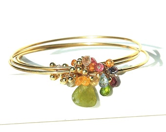 Rainbow Gemstone Bracelet / 14K Gold / Triple Bangles / Boho / Green Garnet / Pink Sapphire / Blue Topaz / Red / Gifts For Her / OOAK