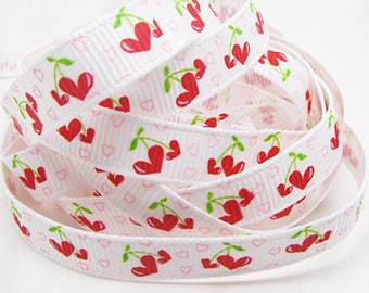 3 m tape / Ribbon grosgrain 9mm wide, so hearts cherries - couture creations / doll / child / Deco