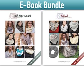 "Crochet Pattern E-Book Bundle: ""8 Infinity Scarves"" + ""8 Cowls"" Crochet Patterns in PDF format (crochet patterns, pdfs, cowl infinity scarf)"