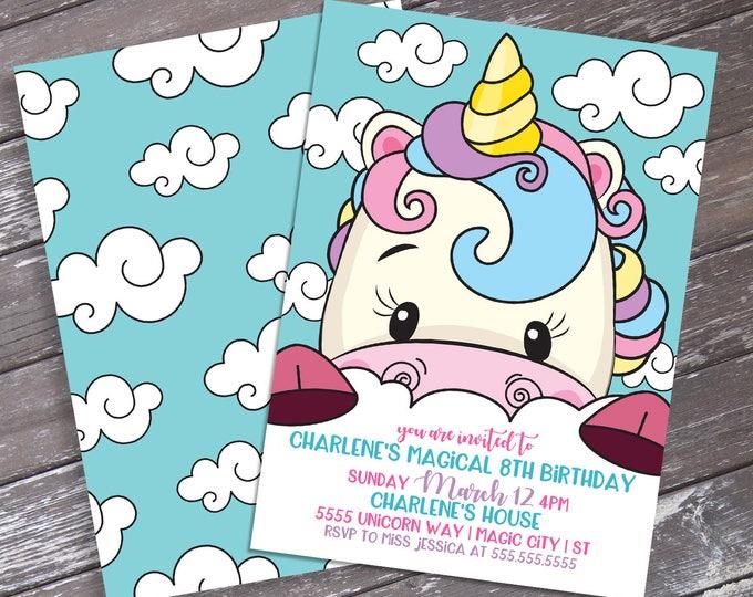 Unicorn Birthday Party Invitation - Unicorn Birthday, Rainbow Birthday, Self-Editing | DIY Editable Text INSTANT DOWNLOAD Printable