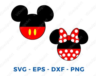 Mickey and Minnie  Head  LAYERED SVG DXF Eps Vector Cuttable File Cricut Cameo Silhouette Vinyl Cut File