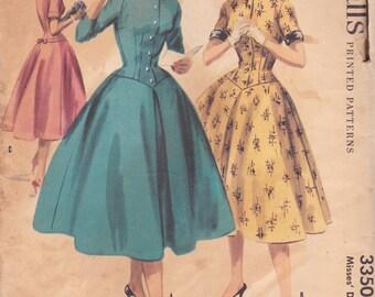 1950s Button Front Dress Pattern McCalls 3350 Size 12 Uncut