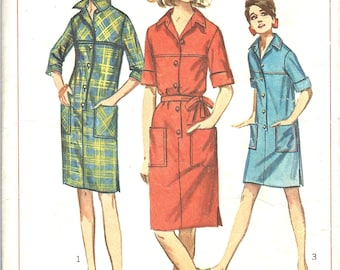 1960's Shift Dress with Collar and Button Front , Simplicity Sewing Pattern No. 6491 , Bust 34