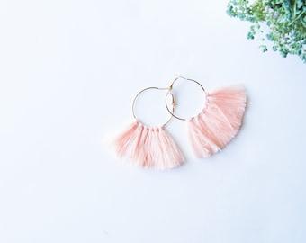 Gold Hoop Tassel Earrings - Peach Tassel Earring - Threaded Tassel Earrings - Tassel Hoops Peach
