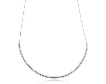 Rhodium Tube Necklace
