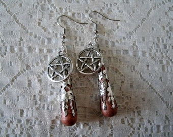 Pentacle Earrings, wiccan jewelry pagan jewelry wicca jewelry goddess witch witchcraft pentagram metaphysical magic wiccan earrings