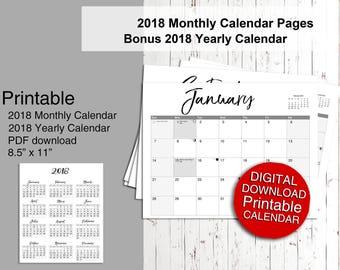 2018 Planner, Printable Calendar 2018, Monthly Planner, 2018 Printable Calendar
