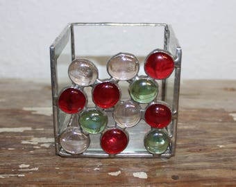 Stained glass beveled candle holder red green clear Christmas