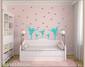 FREE SHIPPING Wall Decal 7 Turquoise Ballerina Dances & 130 Gray Hearts.Nuresery Wall Decal.Vinyl Wall Decals. Diy Wall Decal.