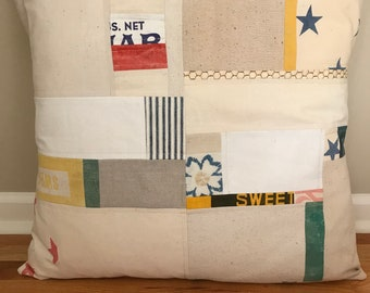 "24"" American Grain Sack Pillow Cover - ModernBarn"