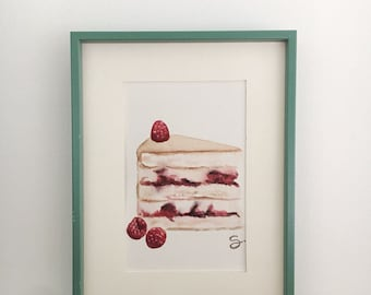 Cake painting watercolor cake watercolor food art original drawing freehand watercolor cake watercolor wall decor home cupcake picture