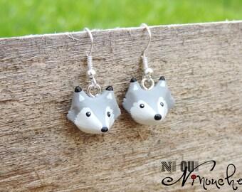Earrings (fimo) Grey Wolf Cub Scout wolf charm bracelet Funny Christmas gift idea little head girl