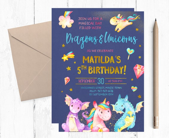 dragons and unicorns invitations dragons and unicorns