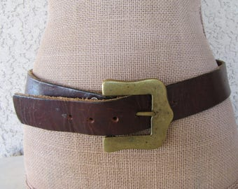 1970s Burnished Leather Belt with Brass Buckle Hefty Solid Brass Buckle Hippie Boho Leather Belt Vintage 70s Fits 30 to 34 Size 32