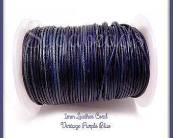 Purple Blue Leather Cord, Round Leather Cord, 16ft Leather Cord, 1mm thick Cord, Blue Leather Cord, Soft Leather Cord