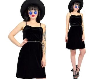 vintage 90s black velvet mini dress gothic soft grunge witchy vamp tunic dress velour minimalist 90s dress medium large