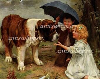 "Dog and Kids Art ""Making New Friends"" #475"