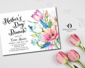 Mother's Day Brunch Invitation, Easter Brunch Invite,  Bridal Shower Invite, Printable Invitation, Floral Pink Tulips, Watercolor flowers