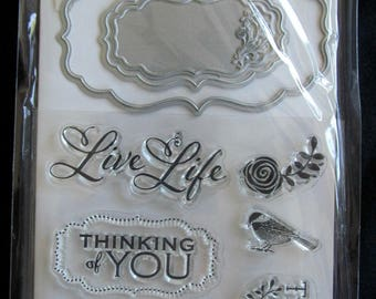 STAMP & CUT (9) piece set by Art-C, matching set of dies and clear stamps, label set, cardmaking, stamping, scrapbooking, clear cling stamps