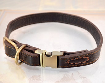 """Leather Dog Collar Snap On For Quick Release Brass Real Genuine Leather Dark Brown For Small to Large Breed Dogs -  7"""" to 21"""""""