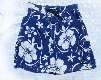 Hawaiian swim trunks - men's swim trunks ,Vintage swim shorts , blue  swim trunks, men's summer shorts, Waist 34 inches, # 11