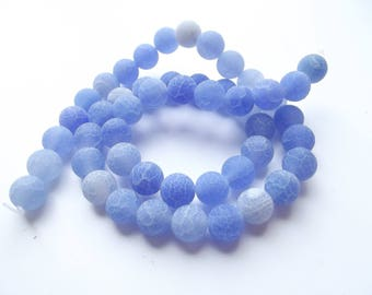 46 PREETI 927 8 mm frosted blue agate smooth round beads